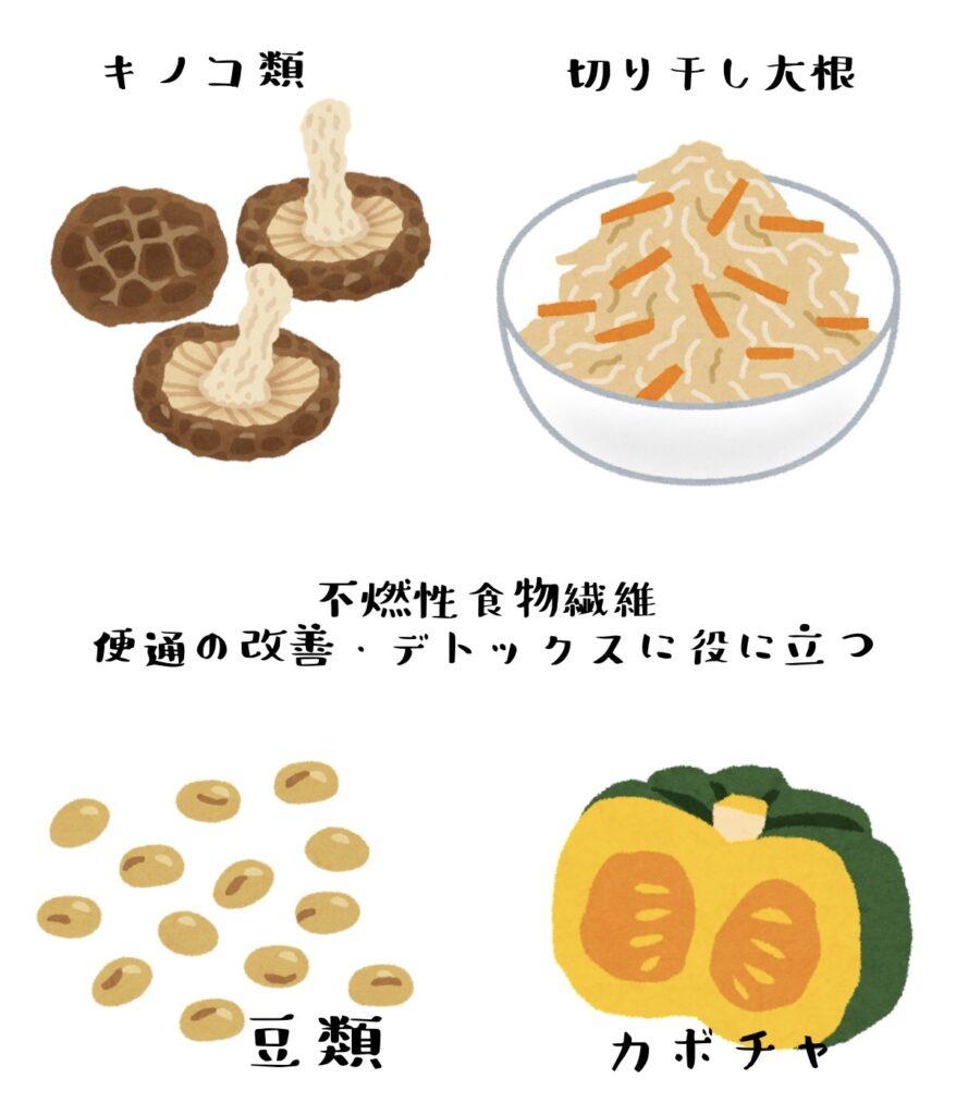 不燃性食物繊維・キノコ類・切り干し大根・大豆・かぼちゃは便通改善やデトックスに役立つ