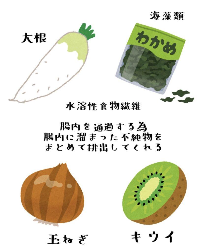 水溶性食物繊維・大根・わかめ・海藻類・たまねぎ・キウイは腸内にたまった不純物をまとめて排出してくれる