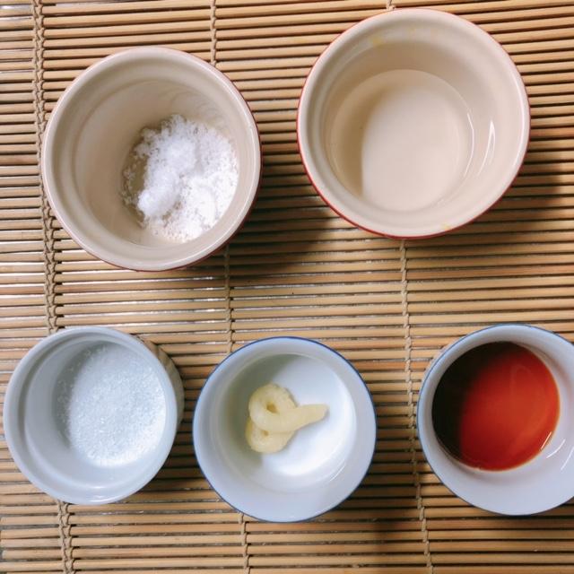 調味料 塩・砂糖・醤油・水・ニンニク