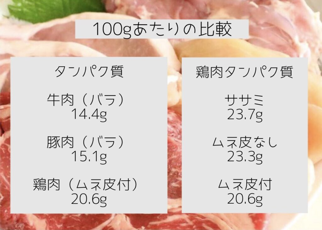 100gあたりの良く食べるお肉のタンパク質量の比較と鶏肉の部位の比較